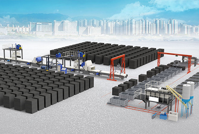 Non-autoclaved foam concrete block production line